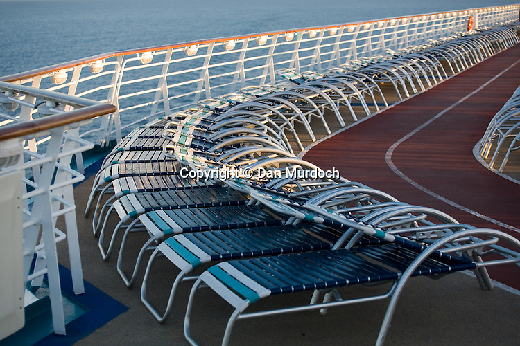 """Deck chairs on the Royal Caribbean cruise ship """"Explorer of the Seas""""."""