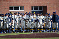 Michigan Wolverines before the NCAA baseball game against the Illinois Fighting Illini at Fisher Stadium on March 19, 2021 in Ann Arbor, Michigan. Illinois won the game 7-4. (Andrew Woolley/Four Seam Images)