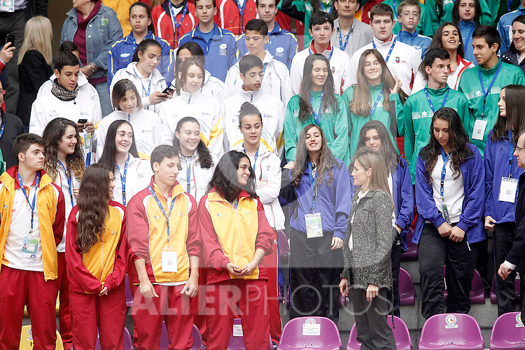 Princess Letizia of Spain attends the matches of the School Championship Volleyball of Spain.April 24,2014. (ALTERPHOTOS/Acero)