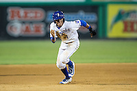 Nicky Lopez (4) of the Burlington Royals takes off for third base during the game against the Kingsport Mets at Burlington Athletic Stadium on July 18, 2016 in Burlington, North Carolina.  The Royals defeated the Mets 8-2.  (Brian Westerholt/Four Seam Images)