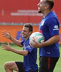 Atletico de Madrid's Santiago Arias (l) and Hector Herrera during training session. July 14,2020.(ALTERPHOTOS/Atletico de Madrid/Pool)