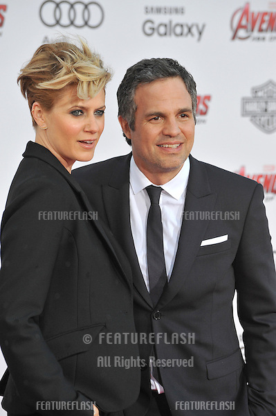 """Mark Ruffalo & wife Sunrise Coigney at the world premiere of his movie """"Avengers: Age of Ultron"""" at the Dolby Theatre, Hollywood.<br /> April 13, 2015  Los Angeles, CA<br /> Picture: Paul Smith / Featureflash"""