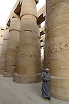 A guide stands beside the columns in the Great Hypostyle Hall in the Precinct of Amun.The hall covers 50,000 sq ft.The roof which has now fallen was supported by 134 columns in 16 rows, the 2 middle rows are higher than the others being 33 feet in circumference and 80 feet high.The hall was built by the Pharaoh Seti I who ruled Egypt from 1290 or 1294 BC -1279 BC and was completed by his son the Pharaoh Ramesses II who ruled from 1279-1213 BC. Karnak is part of the ancient city of Thebes ( built in and around modern day Luxor).The building of the Temple complex at Karnak began in the reign of the Pharaoh Senusret I who ruled Egypt from 1971 -1926 BC. Approximately 30 Pharaohs contributed to the building of the complex and in so doing made it the largest ancient religious site in the world. The ancient name for Karnak is Ipet-isut (Most select of places).