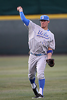 Jeff Gelalich #20 of the UCLA Bruins throws in the outfield against the TCU Horned Frogs at the Los Angeles super regionals at Jackie Robinson Stadium on June 9, 2012 in Los Angeles,California. UCLA defeated TCU 4-1.(Larry Goren/Four Seam Images)