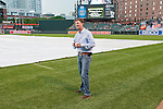 2011 Kentucky Derby winning trainer H. Graham Motion prepares to throw out the first pitch at Camden Yards in Baltimore, MD.