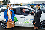 Andrew Duggan and Siobhan Dempsey from Ballyferriter receive their new Nissan Leaf electric car at Adams Garage Tralee on Monday from Clare McElligott (Community Engagement Manager ESB Networks). L to r: Clare McElligott, Andrew Duggan and Siobhan Dempsey.