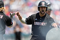Louisville Cardinals second baseman Justin Lavey (16) celebrates after scoring in Game 3 of the NCAA College World Series against the Vanderbilt Commodores on June 16, 2019 at TD Ameritrade Park in Omaha, Nebraska. Vanderbilt defeated Louisville 3-1. (Andrew Woolley/Four Seam Images)
