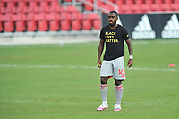 WASHINGTON, DC - SEPTEMBER 12: Dru Yearwood #16 of New York Red Bulls warming up during a game between New York Red Bulls and D.C. United at Audi Field on September 12, 2020 in Washington, DC.