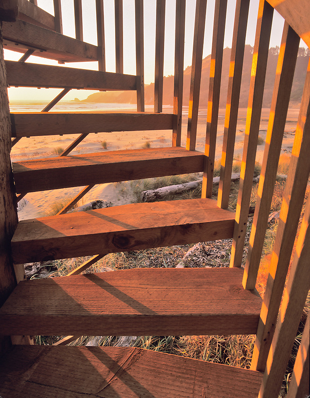 Spiral staircase to beach. Near Newport, Oregon
