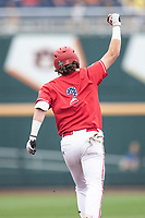 Louisville Cardinals shortstop Tyler Fitzgerald (2) rounds the bases after hitting a first inning home run during Game 7 of the NCAA College World Series against the Auburn Tigers on June 18, 2019 at TD Ameritrade Park in Omaha, Nebraska. Louisville defeated Auburn 5-3. (Andrew Woolley/Four Seam Images)
