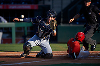 AZL Padres 1 catcher Brandon Valenzuela (7) prepares to catch a throw from the outfield before applying a late tag to the back of Leonardo Rivas (98) during an Arizona League game against the AZL Angels on July 16, 2019 at Tempe Diablo Stadium in Tempe, Arizona. The AZL Padres 1 defeated the AZL Angels 3-1. (Zachary Lucy/Four Seam Images)