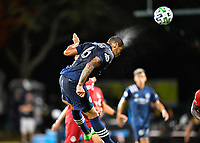 LAKE BUENA VISTA, FL - JULY 26: Alexander Callens of New York City FC heads the ball during a game between New York City FC and Toronto FC at ESPN Wide World of Sports on July 26, 2020 in Lake Buena Vista, Florida.