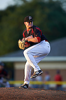 Batavia Muckdogs pitcher Nick White (16) delivers a pitch during a game against the Auburn Doubledays July 10, 2015 at Dwyer Stadium in Batavia, New York.  Auburn defeated Batavia 13-1.  (Mike Janes/Four Seam Images)