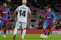 20th September 2021; Nou Camp, Barcelona, Spain; La Liga football league;  FC Barcelona versus Granada;   Riqui Puig comes forward covered by Monchu of Granada