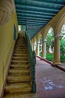 Cuba, Havana.  Convent of Santa Clara, founded 1644.  Old Havana.  Stairway and Courtyard Corridor.
