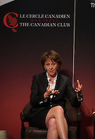 (Left to right) Dominique Anglade, Isabelle Courville, Madeleine Chenette, Marie-Line Beauchamps, Isabelle Hudon participate in a  panel about Leadership hosted by the Canadian Club of Montreal, June 6, 2014.<br /> <br /> IN PHOTO : Isabelle Courville<br /> <br /> Photo : Agence Quebec Presse - Pierre Roussel