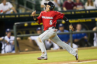 Oklahoma City RedHawks third baseman Ronny Torreyes (5) heads home during the Pacific Coast League baseball game against the Round Rock Express on August 1, 2014 at the Dell Diamond in Round Rock, Texas. The Express defeated the RedHawks 6-5. (Andrew Woolley/Four Seam Images)
