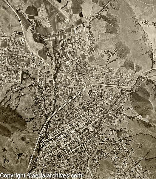 historical aerial photograph San Luis Obispo, California, 1963