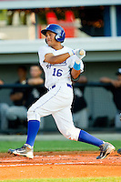 Michael Antonio #16 of the Burlington Royals follows through on his swing against the Bristol White Sox at Burlington Athletic Park on July 9, 2011 in Burlington, North Carolina.  The Royals defeated the White Sox 3-2.   (Brian Westerholt / Four Seam Images)