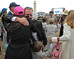 16 May 09:  Assistant Trainer Scott Blasi gets a hug after Rachel Alexandra won the Preakness Stakes at Pimlico Race Course in Baltimore, Maryland on Preakness Day.