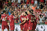 Liverpool FC forward Mohamed Salah (R) celebrates with teammates during the Premier League Asia Trophy match between Liverpool FC and Leicester City FC at Hong Kong Stadium on 22 July 2017, in Hong Kong, China. Photo by Weixiang Lim / Power Sport Images