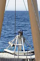 Covered harpoon gun on bow of Norwegian whaling boat Norwegian sea Arctic Norway North Atlantic NO ANTI WHALING USAGE