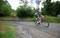 Rigoberto Uran (COL/Etixx-Quickstep) descending the Col de Chaussy (C1/1533m/14.4km@6.3%)<br /> <br /> stage 19: St-Jean-de-Maurienne - La Toussuire / Les Sybelles   (138km)<br /> Tour de France 2015