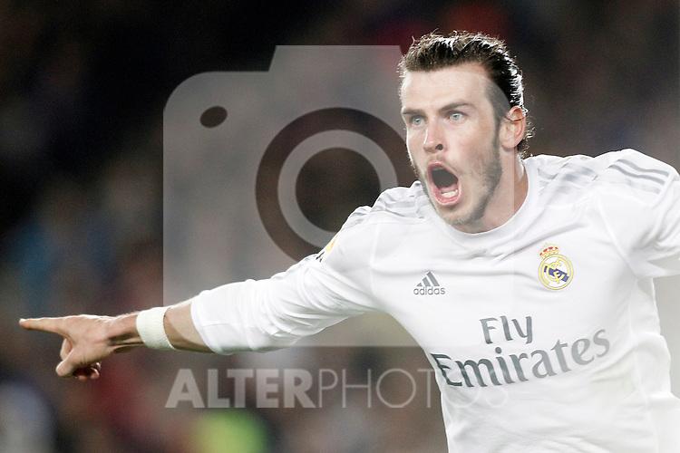 Real Madrid's Gareth Bale celebrates goal during La Liga match. April 2,2016. (ALTERPHOTOS/Acero)