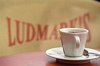 Cup of coffee. At the Ludmarks cafe on Quai des Chartrons. On Les Quais. Bordeaux city, Aquitaine, Gironde, France