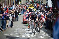 Clément Chevrier (FRA/IAM) leads the breakaway group up the (2nd climb of the day) Côte de Saint-Roche (1850m/6.3%)<br /> <br /> 101th Liège-Bastogne-Liège 2015