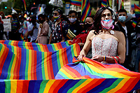 BOGOTA, COLOMBIA - JUL 04: A woman take part on the LGBTIQ pride parade on July 04, 2021 in Bogota, Colombia. The parade is a protest against violence suffered by the LGBTIQ community in Colombia. (Photo by Leonardo Munoz/VIEWpress)