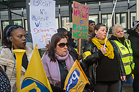 PCS members working as caterers at the BEIS department in Westminster go on strike demanding better pay and that their jobs are brought back in house. London 10-4-19