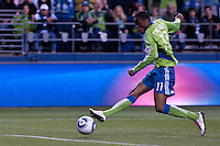 GOAL! Steve Zakuani (11) of the Seattle Sounders score the first goal of the match against Chivas USA at the XBox 360 Pitch at Quest Field in Seattle, WA on October 15, 2010. The Sounders defeated Chivas USA 2-1.