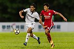 Arkaitz Ruiz De Miguel of Dreams FC fights for the ball with Chun Lok Tan of Wofoo Tai Po during the Dreams FC vs Wofoo Tai Po match of the week one Premier League match at the Aberdeen Sports Ground on 26 August 2017 in Hong Kong, China. Photo by Yu Chun Christopher Wong / Power Sport Images
