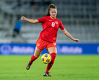 ORLANDO, FL - FEBRUARY 21: Samantha Chang #8 of Canada dribbles during a game between Canada and Argentina at Exploria Stadium on February 21, 2021 in Orlando, Florida.