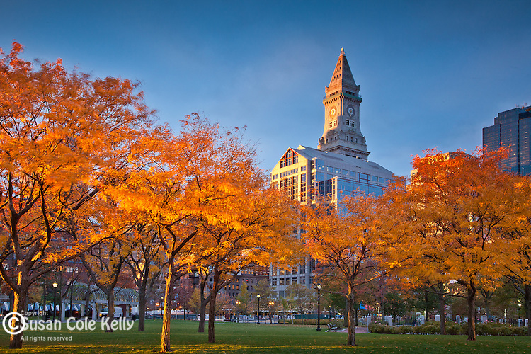 Sunrise on the Custom House tower from Christopher Columbus Waterfront Park, Boston, MA, USA
