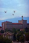 MI-24s (Hind) Gunships over the Math Faculty, Bulgarian Academy of Sciences