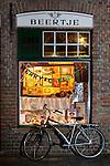 Belgium, West-Flanders, Bruges: Evening exterior of 't Brugs Beertje, famous Belgian Beer Pub