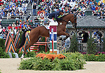 Pascal Leroy and Minos de Petra of France compete in the final stadium jumping round of the FEI  World Eventing Championship at the Alltech World Equestrian Games in Lexington, Kentucky.