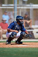 Jonathan French during the WWBA World Championship at the Roger Dean Complex on October 18, 2018 in Jupiter, Florida.  Jonathan French is a catcher from Lilburn, Georgia who attends Parkview High School and is committed to Clemson.  (Mike Janes/Four Seam Images)