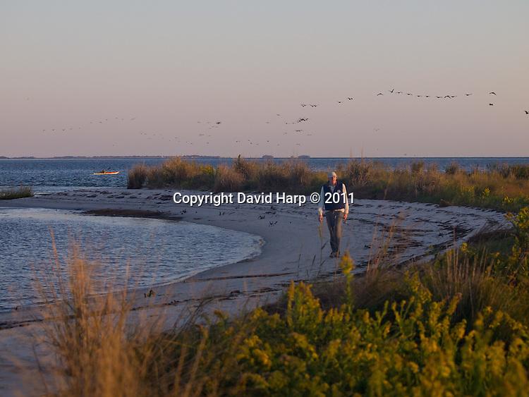 Don Baugh walks along the edges of Goose Island at dawn.