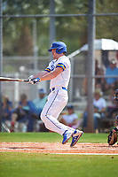 South Dakota State Jackrabbits third baseman Matthew Krambeck (23) bats during a game against the FIU Panthers on February 23, 2019 at North Charlotte Regional Park in Port Charlotte, Florida.  South Dakota State defeated FIU 4-3.  (Mike Janes/Four Seam Images)