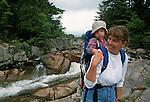 Hiking at Big Niagara Falls, Baxter State Park, Maine, USA
