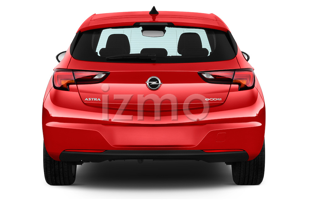 Straight rear view of 2016 Opel Astra Dynamic 4 Door Hatchback Rear View  stock images