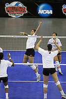 Omaha, NE - DECEMBER 20:  Outside hitter Cynthia Barboza #1 of the Stanford Cardinal during Stanford's 2008 NCAA Division I Women's Volleyball Final Four Championship closed practice before playing the Penn State Nittany Lions on December 20, 2008 at the Qwest Center in Omaha, Nebraska.