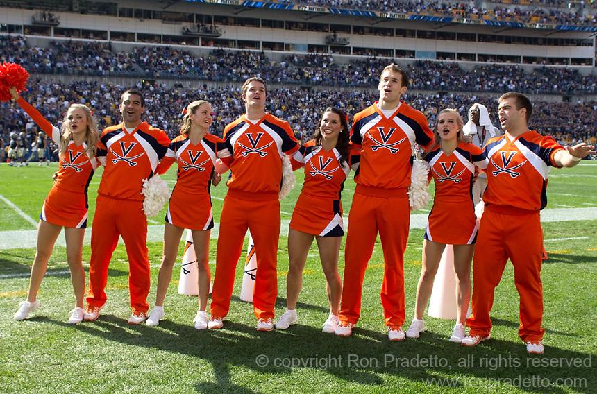Virginia Cavaliers cheerleaders. The Pitt Panthers defeated the Virginia Cavaliers 14-3 at Heinz Field, Pittsburgh, PA on Saturday, September 28, 2013.