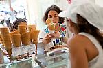 Customers buy ice cream at Le Glacier du Roy, Marseille, 16.06.2011
