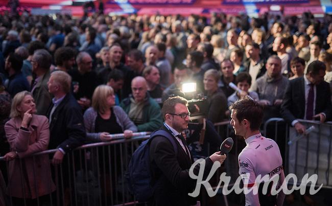 Fränk Schleck (LUX/Trek-Segafredo) interviewed<br /> <br /> Ciao Fabian<br /> <br /> Farewell event in 't Kuipke in Gent/Belgium for Fabian Cancellara after retiring for pro racing (november 2016)
