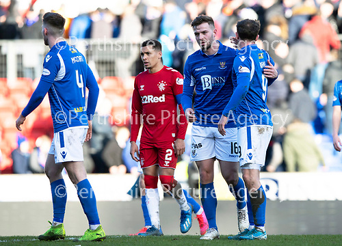 St Johnstone v Rangers…..23.02.20   McDiarmid Park   SPFL<br />Matt Butcher and Chris Kane give each other a pat on the back at full time afterearning a draw<br />Picture by Graeme Hart.<br />Copyright Perthshire Picture Agency<br />Tel: 01738 623350  Mobile: 07990 594431