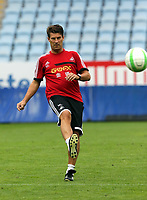 Wednesday 07 August 2013<br /> Pictured: Manager Michael Laudrup showing off his skills at the Malmo Stadium, Sweden.<br /> Re: Swansea City FC travelling to Sweden for their Europa League 3rd Qualifying Round, Second Leg game against Malmo.